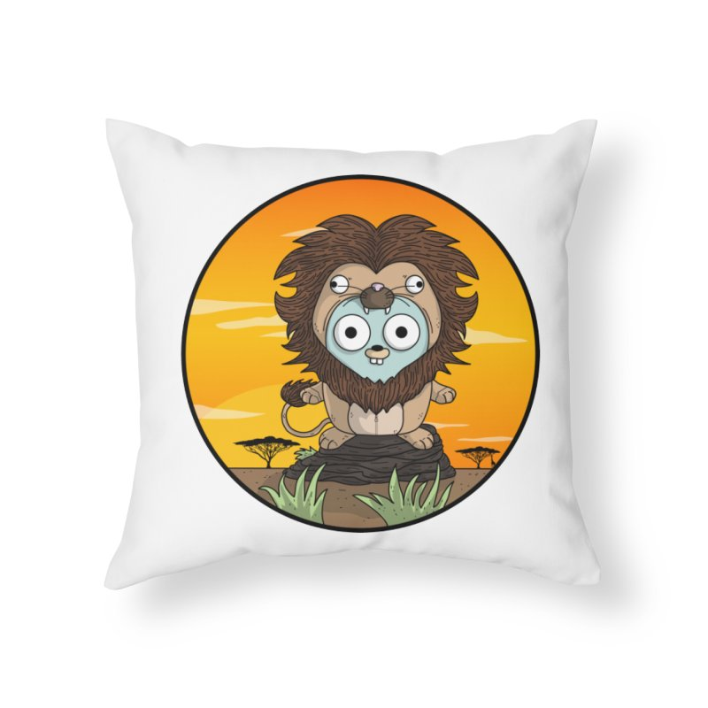 Gopher Lion Home Throw Pillow by Women Who Go