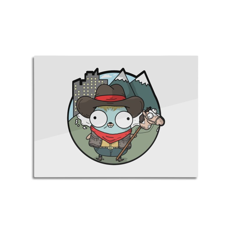 Cowboy Gopher Home Mounted Aluminum Print by Women Who Go