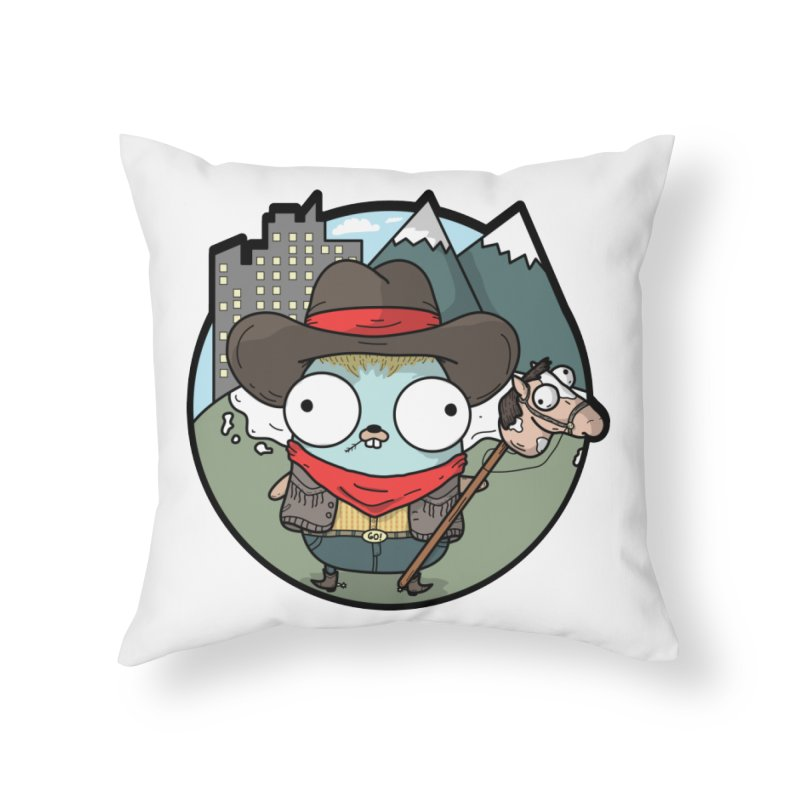 Cowboy Gopher Home Throw Pillow by Women Who Go