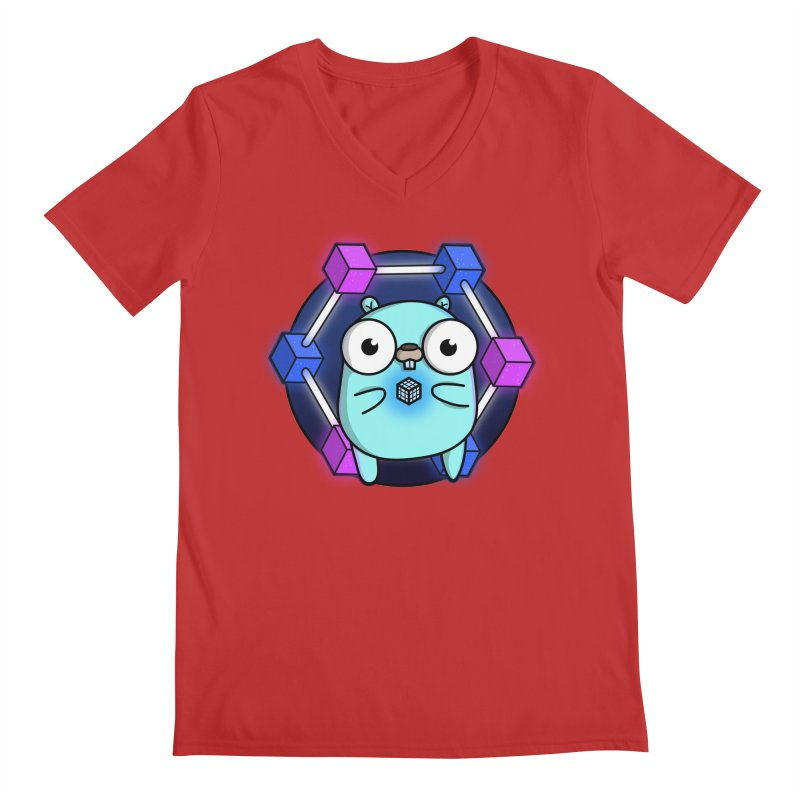Blockchain Gopher Men's V-Neck by Women Who Go
