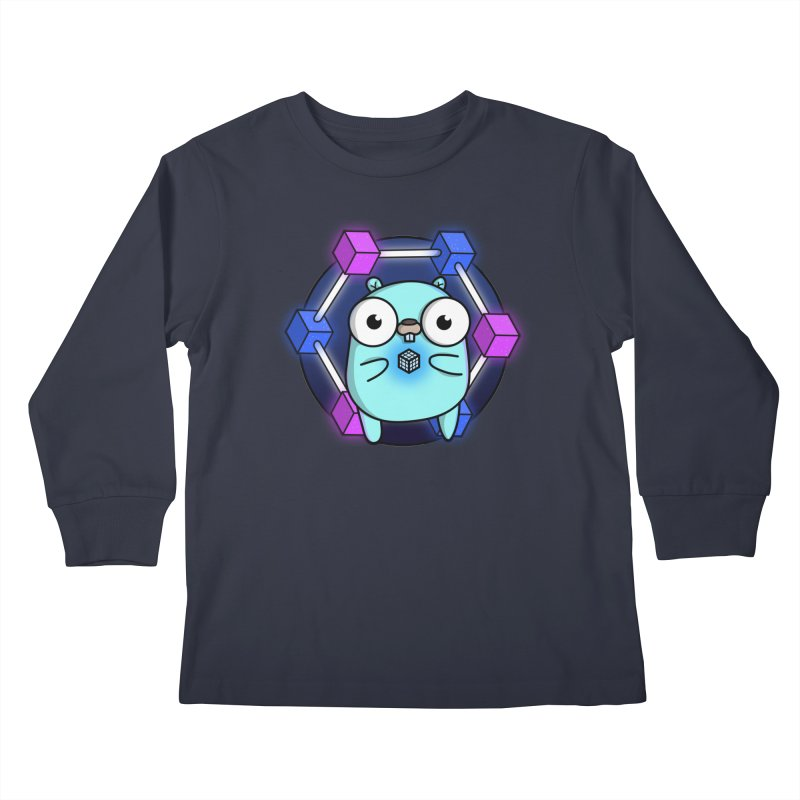 Blockchain Gopher Kids Longsleeve T-Shirt by Women Who Go