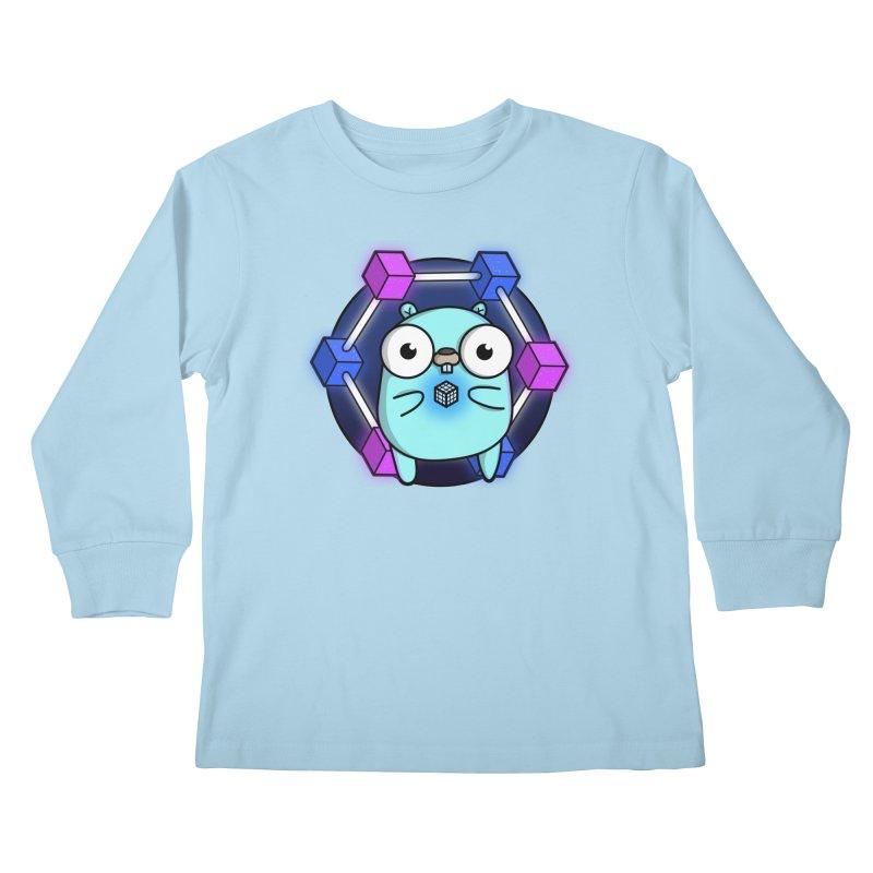 Blockchain Gopher Kids Longsleeve T-Shirt by Women Who Go