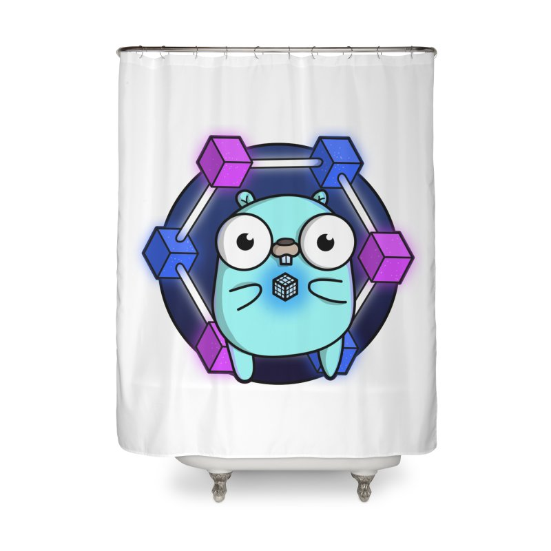 Blockchain Gopher Home Shower Curtain by Women Who Go