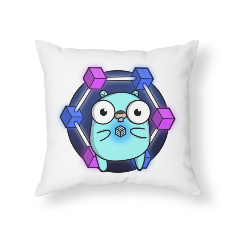 Blockchain Gopher Home Throw Pillow by Women Who Go