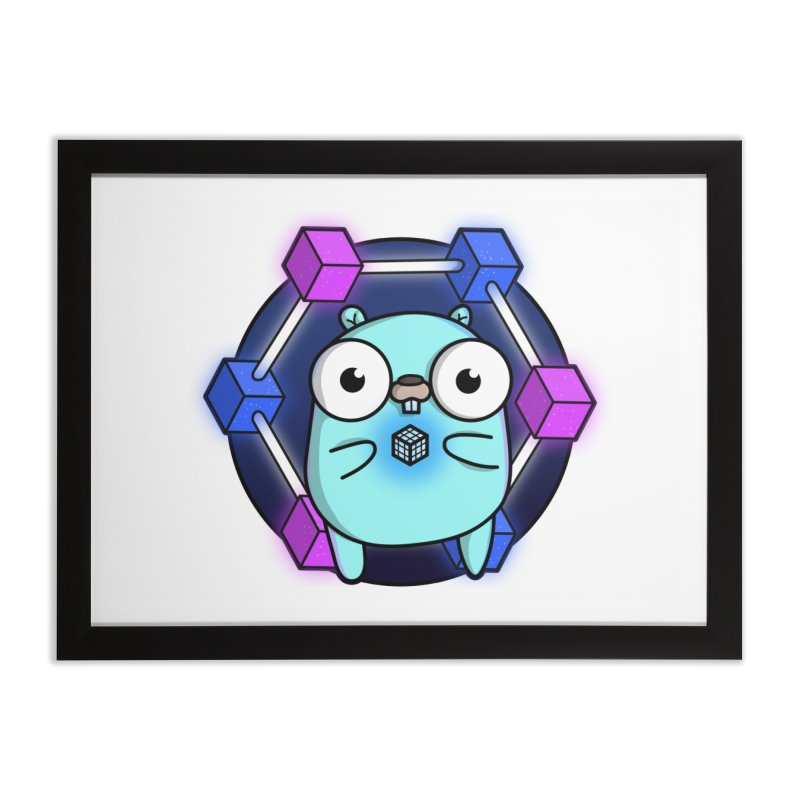 Blockchain Gopher Home Framed Fine Art Print by Women Who Go