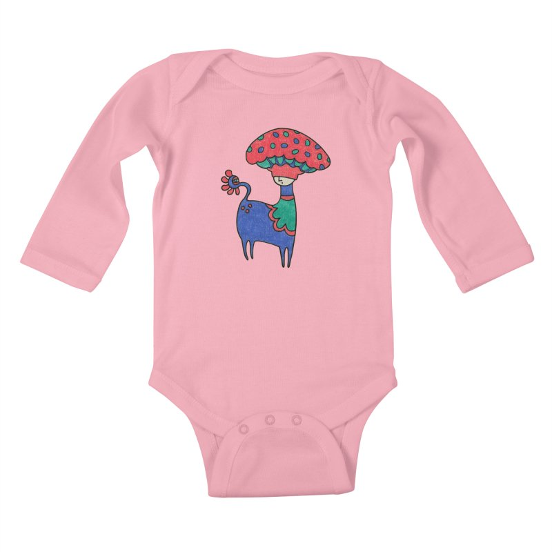 Magic Mushroom in Kids Baby Longsleeve Bodysuit Light Pink by Wonder Friends