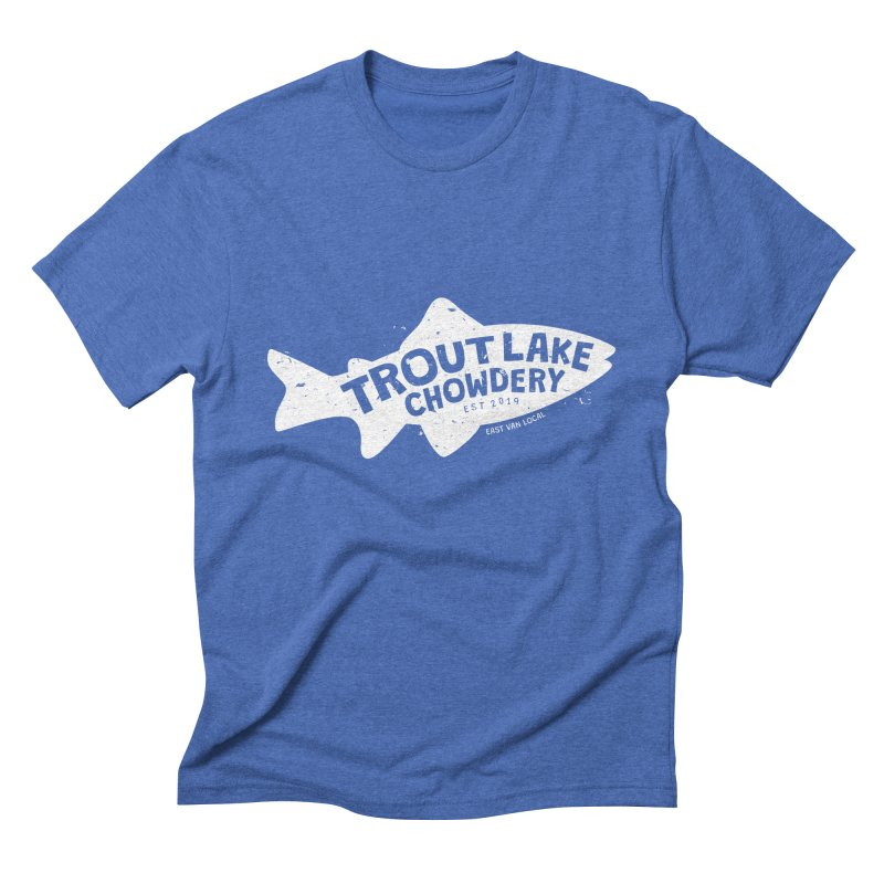 Trout Lake Chowdery in Men's Triblend T-Shirt Blue Triblend by A Wonderful Shop of Wonderful Wonders