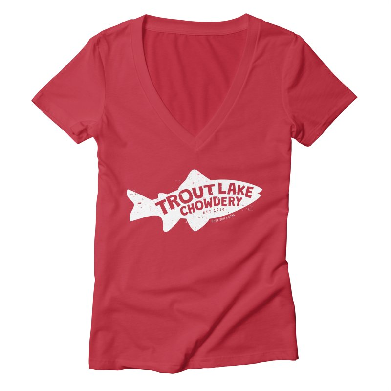 Trout Lake Chowdery Women's Deep V-Neck V-Neck by A Wonderful Shop of Wonderful Wonders