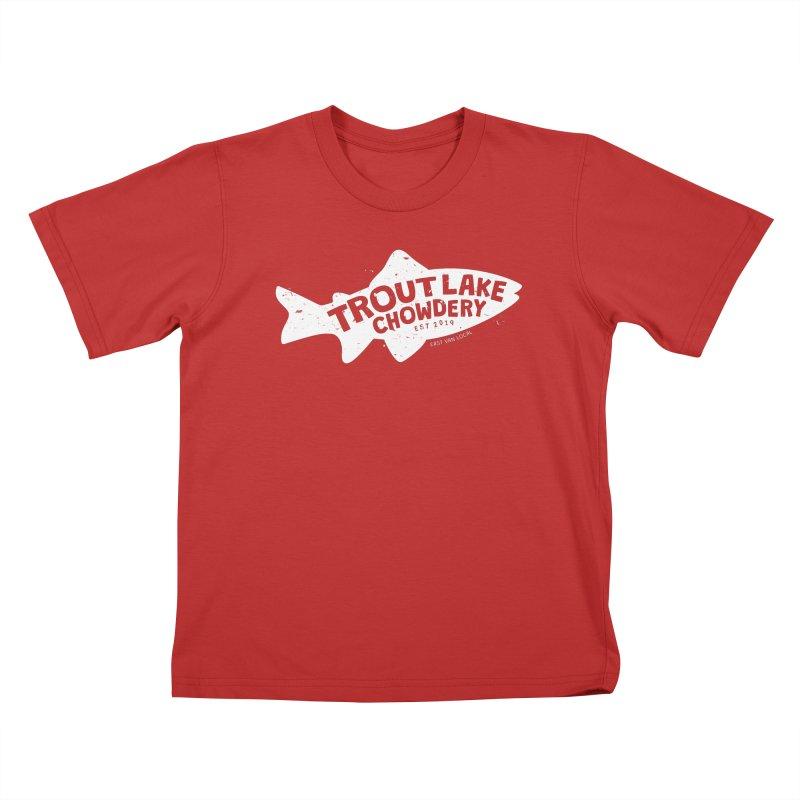 Trout Lake Chowdery Kids T-Shirt by A Wonderful Shop of Wonderful Wonders