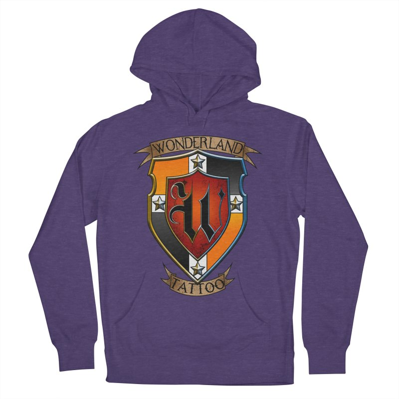 Wonderland Tattoo color shield Women's French Terry Pullover Hoody by Wonderland Tattoo Studio's Artist Shop