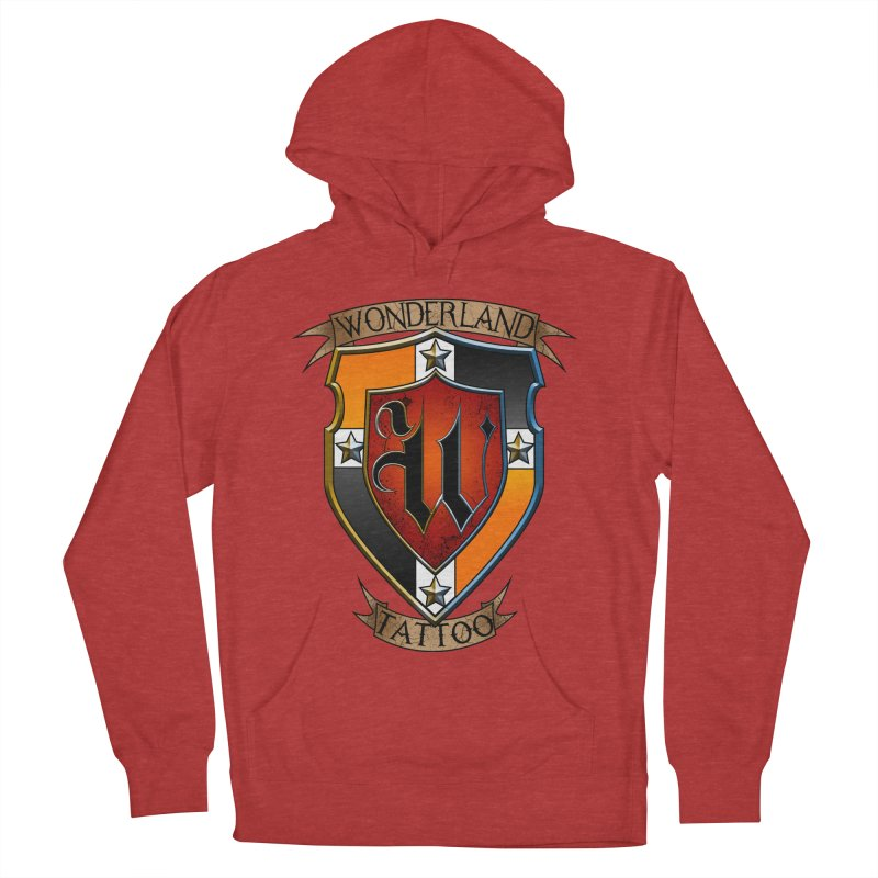 Wonderland Tattoo color shield Men's French Terry Pullover Hoody by Wonderland Tattoo Studio's Artist Shop