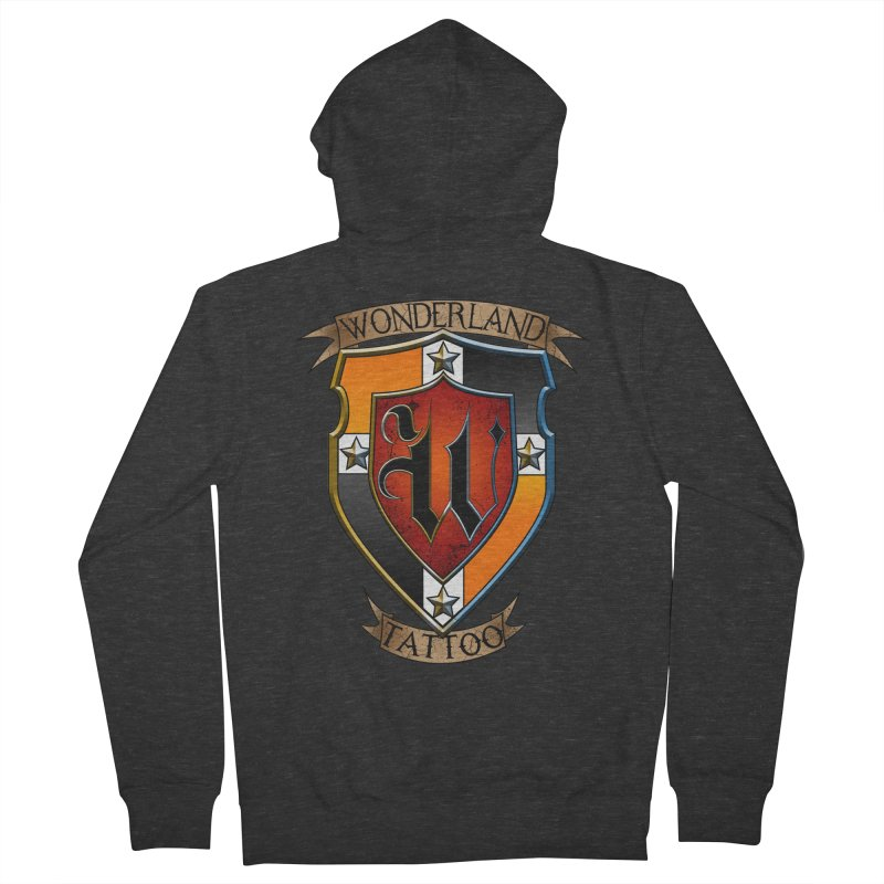 Wonderland Tattoo color shield Men's French Terry Zip-Up Hoody by Wonderland Tattoo Studio's Artist Shop
