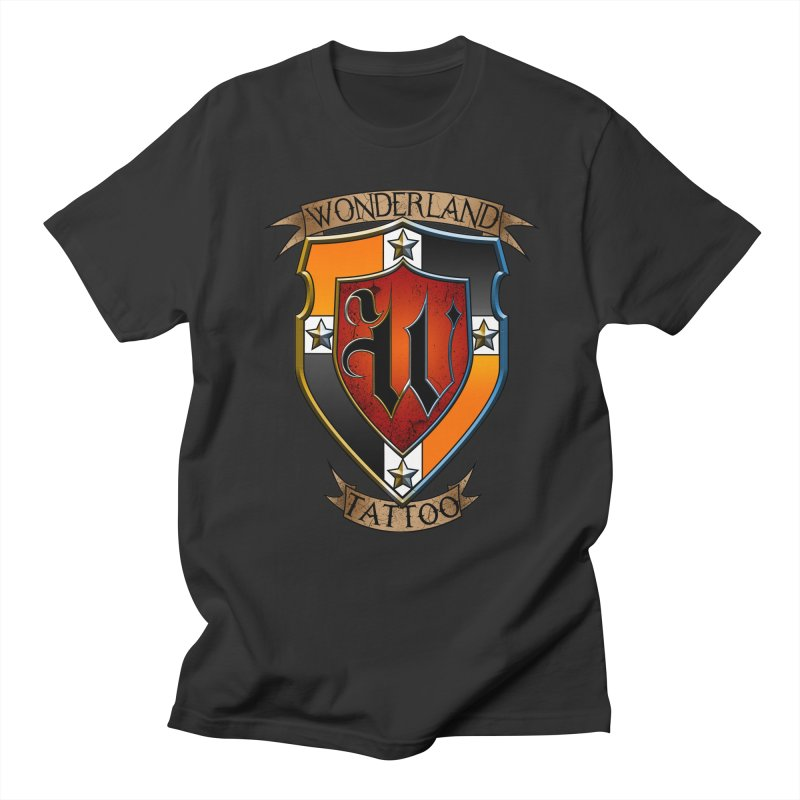 Wonderland Tattoo color shield Men's Regular T-Shirt by Wonderland Tattoo Studio's Artist Shop
