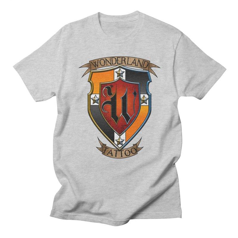 Wonderland Tattoo color shield Men's Regular T-Shirt by Wonderland Tattoo Studio's Artist Shop