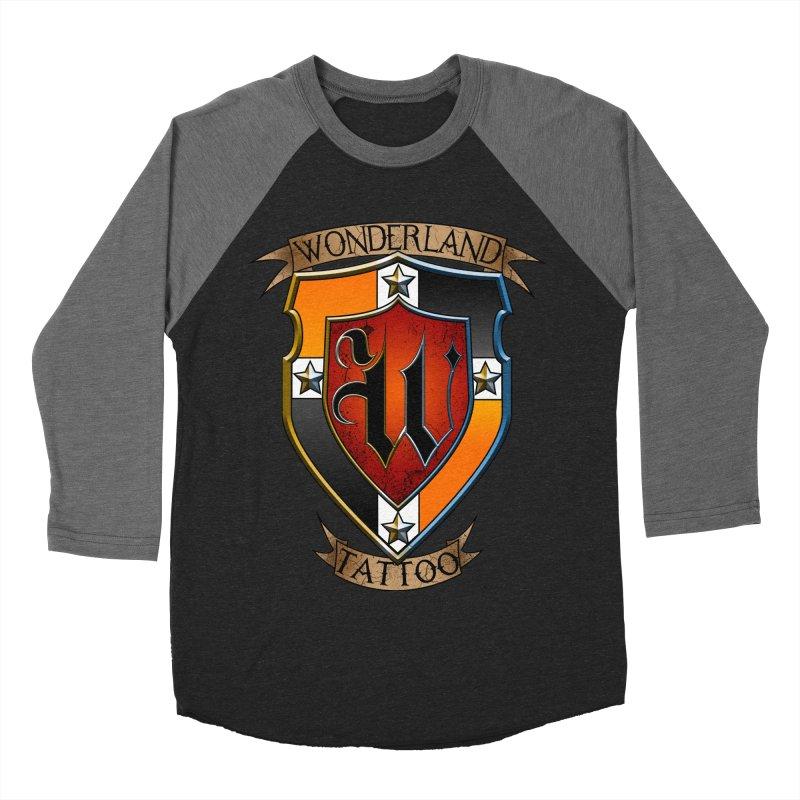 Wonderland Tattoo color shield Men's Baseball Triblend Longsleeve T-Shirt by Wonderland Tattoo Studio's Artist Shop