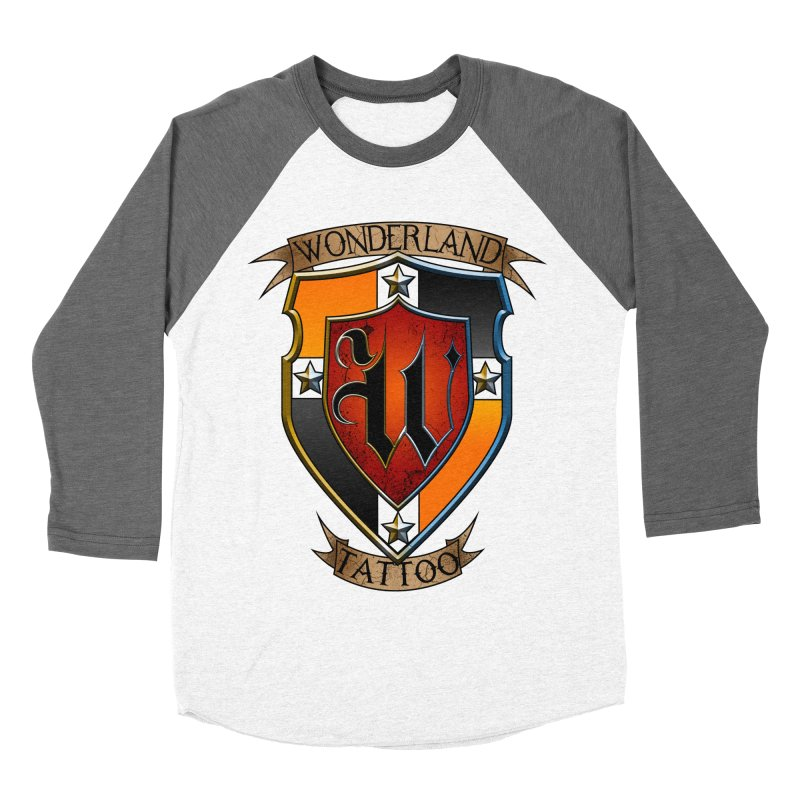 Wonderland Tattoo color shield Men's Baseball Triblend Longsleeve T-Shirt by Wonderland Tattoo Studio's Artist Shop