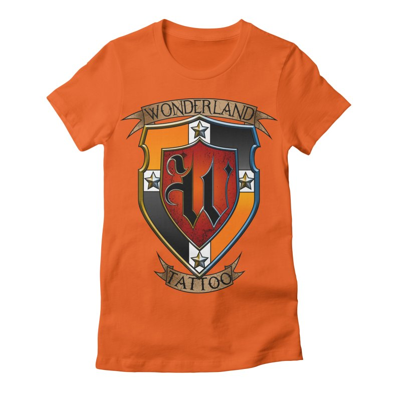 Wonderland Tattoo color shield Women's Fitted T-Shirt by Wonderland Tattoo Studio's Artist Shop