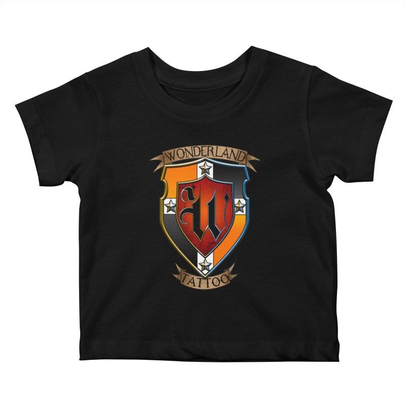 Wonderland Tattoo color shield Kids Baby T-Shirt by Wonderland Tattoo Studio's Artist Shop