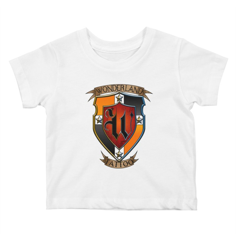 Wonderland Tattoo color shield Kids Baby T-Shirt by Wonderland Tattoo Studio's Artist Shop