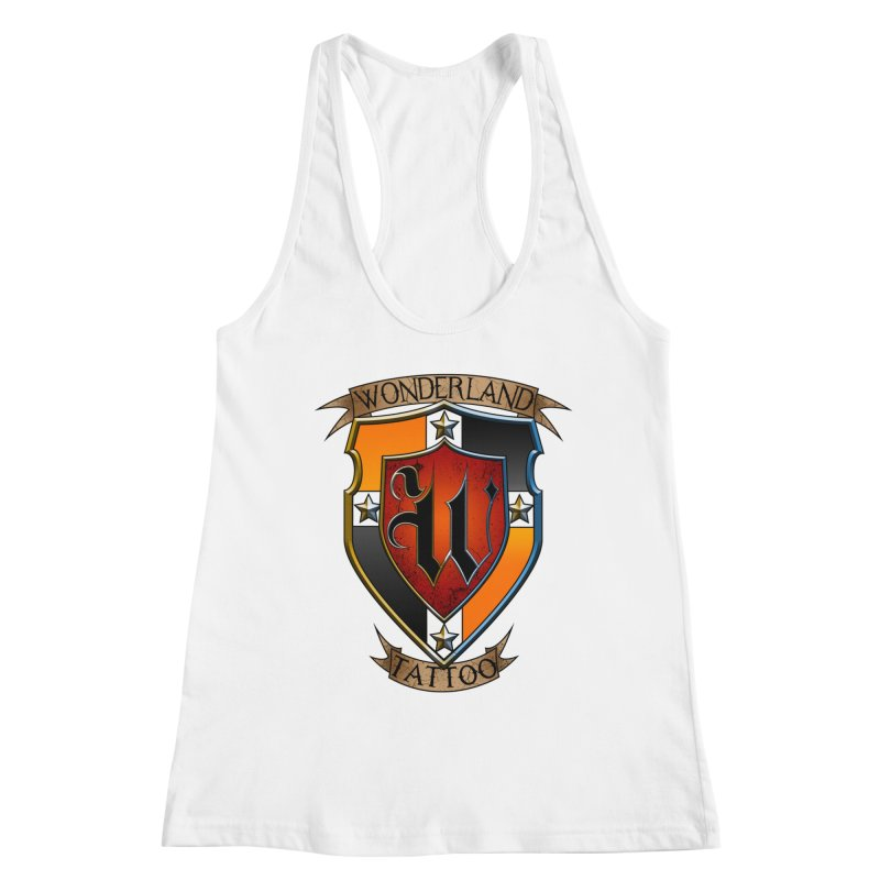 Wonderland Tattoo color shield Women's Racerback Tank by Wonderland Tattoo Studio's Artist Shop