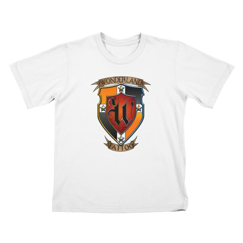 Wonderland Tattoo color shield Kids T-Shirt by Wonderland Tattoo Studio's Artist Shop