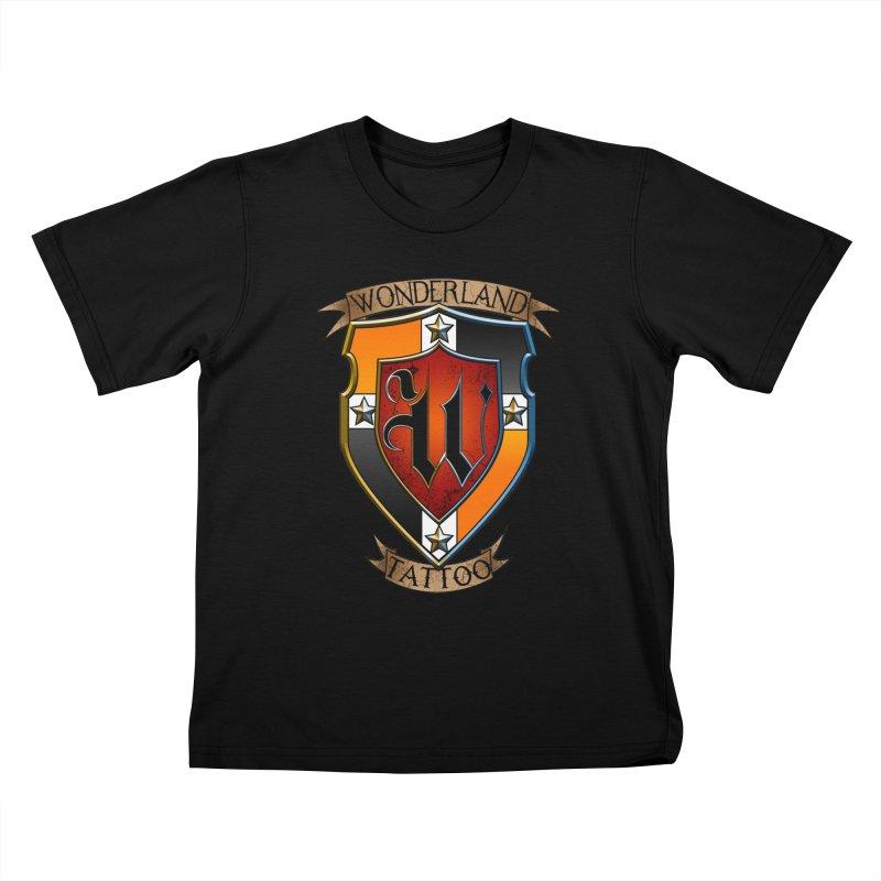Wonderland Tattoo color shield Kids T-Shirt by Wonderland Tattoo Studio's Artist Shop