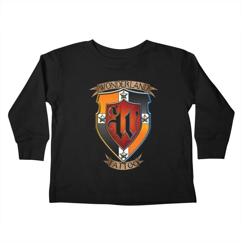 Wonderland Tattoo color shield Kids Toddler Longsleeve T-Shirt by Wonderland Tattoo Studio's Artist Shop