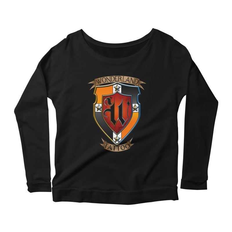 Wonderland Tattoo color shield Women's Longsleeve Scoopneck  by Wonderland Tattoo Studio's Artist Shop