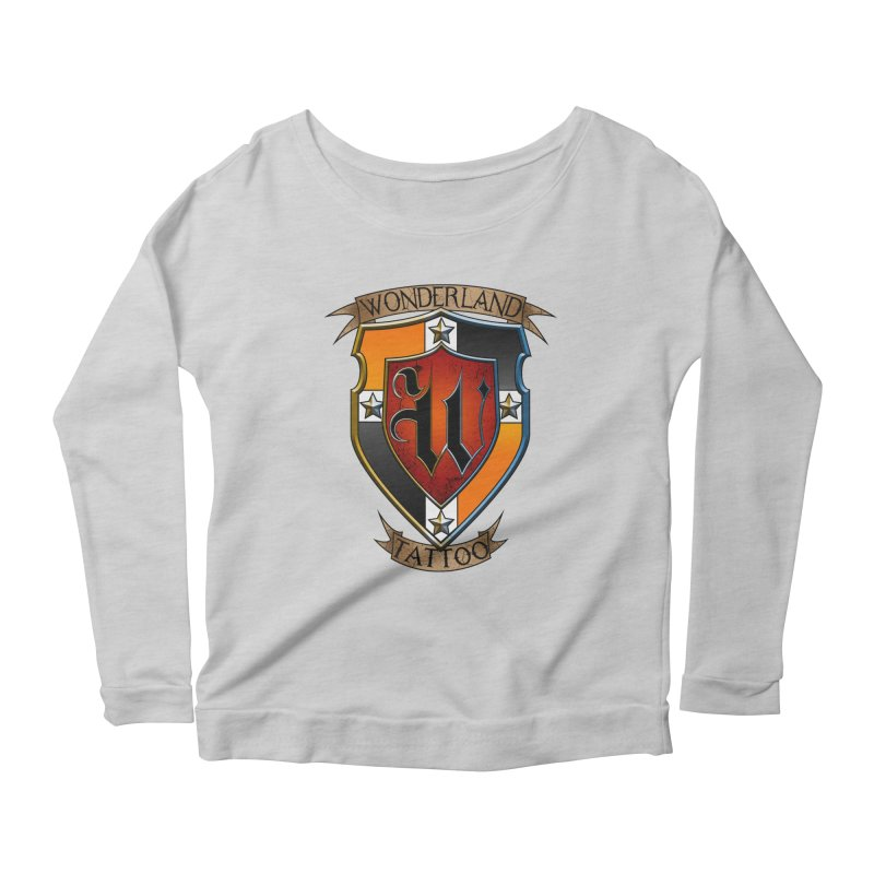 Wonderland Tattoo color shield Women's Scoop Neck Longsleeve T-Shirt by Wonderland Tattoo Studio's Artist Shop