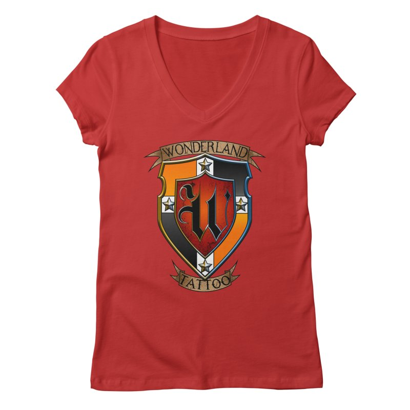 Wonderland Tattoo color shield Women's Regular V-Neck by Wonderland Tattoo Studio's Artist Shop