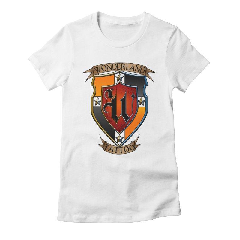 Wonderland Tattoo color shield Women's Fitted T-Shirt by Wonderland Tattoo Studio's Artist Shop