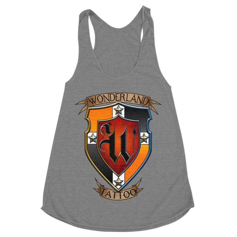 Wonderland Tattoo color shield Women's Racerback Triblend Tank by Wonderland Tattoo Studio's Artist Shop