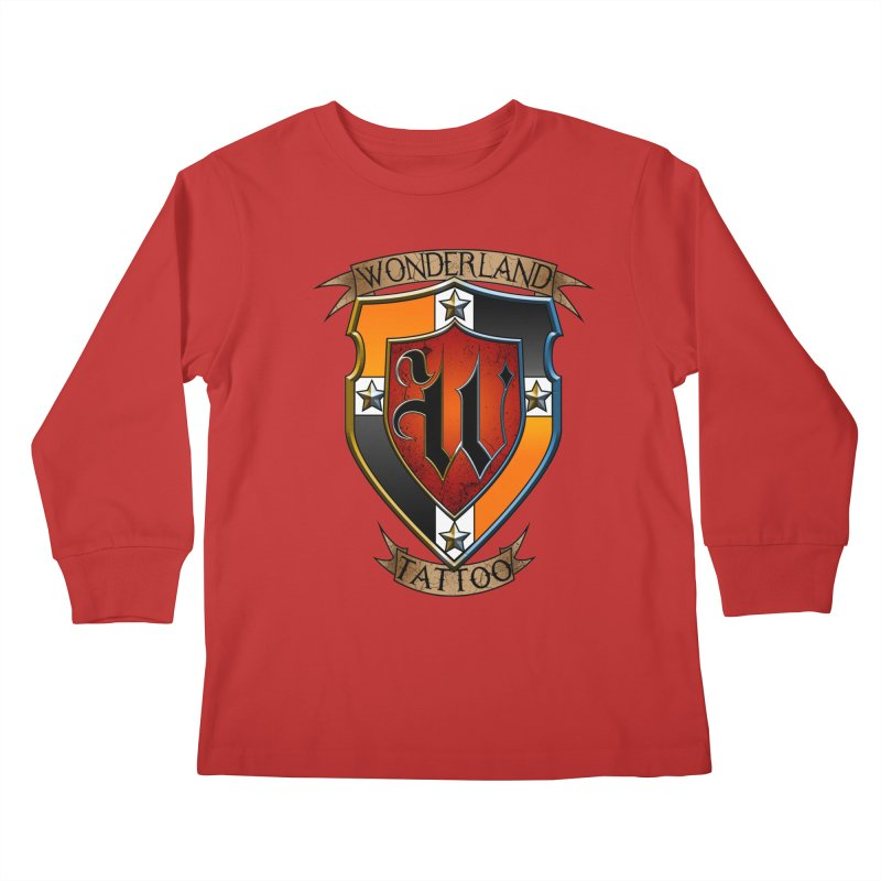 Wonderland Tattoo color shield Kids Longsleeve T-Shirt by Wonderland Tattoo Studio's Artist Shop