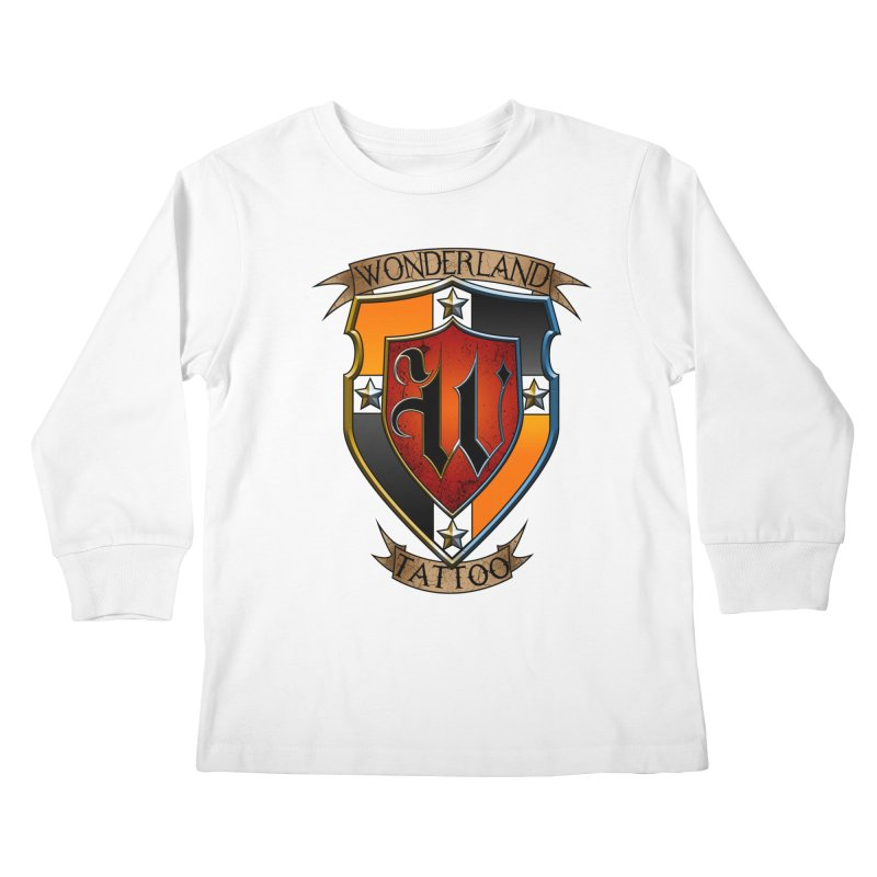 Wonderland Tattoo color shield Kids Longsleeve T-Shirt by Wonderland Tattoo Studio's Artist Shop