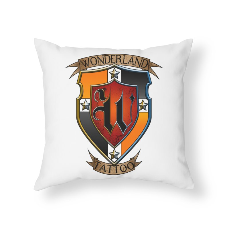 Wonderland Tattoo color shield Home Throw Pillow by Wonderland Tattoo Studio's Artist Shop