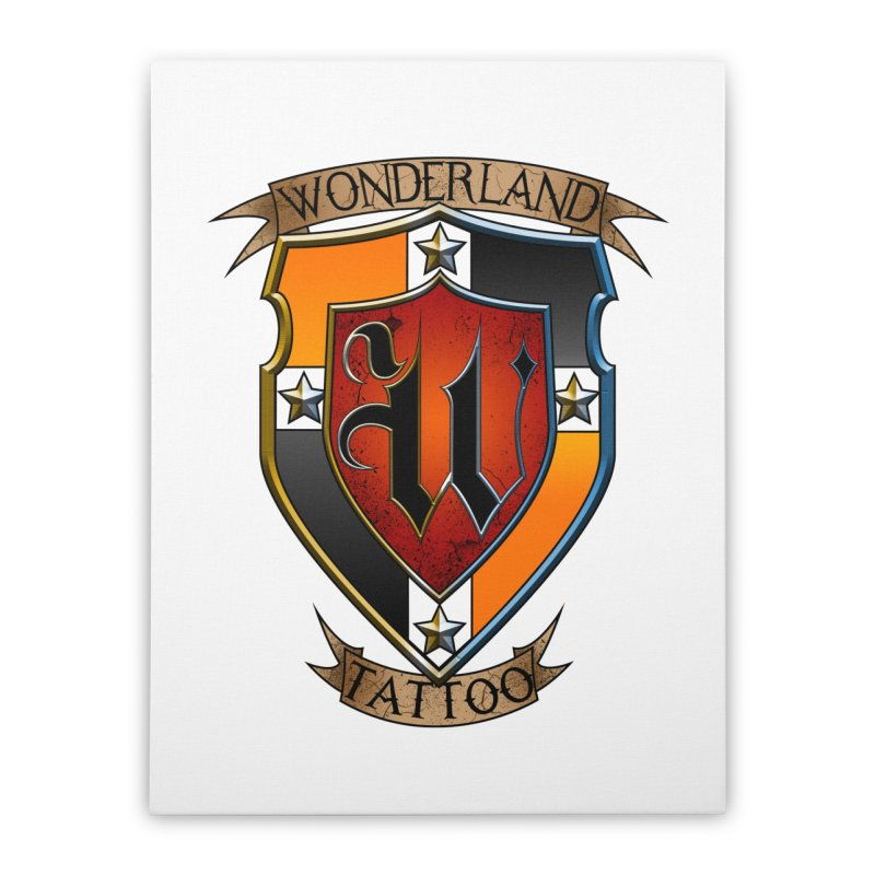 Wonderland Tattoo color shield Home Stretched Canvas by Wonderland Tattoo Studio's Artist Shop