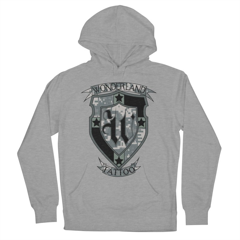 Digi Camo shield Women's French Terry Pullover Hoody by Wonderland Tattoo Studio's Artist Shop