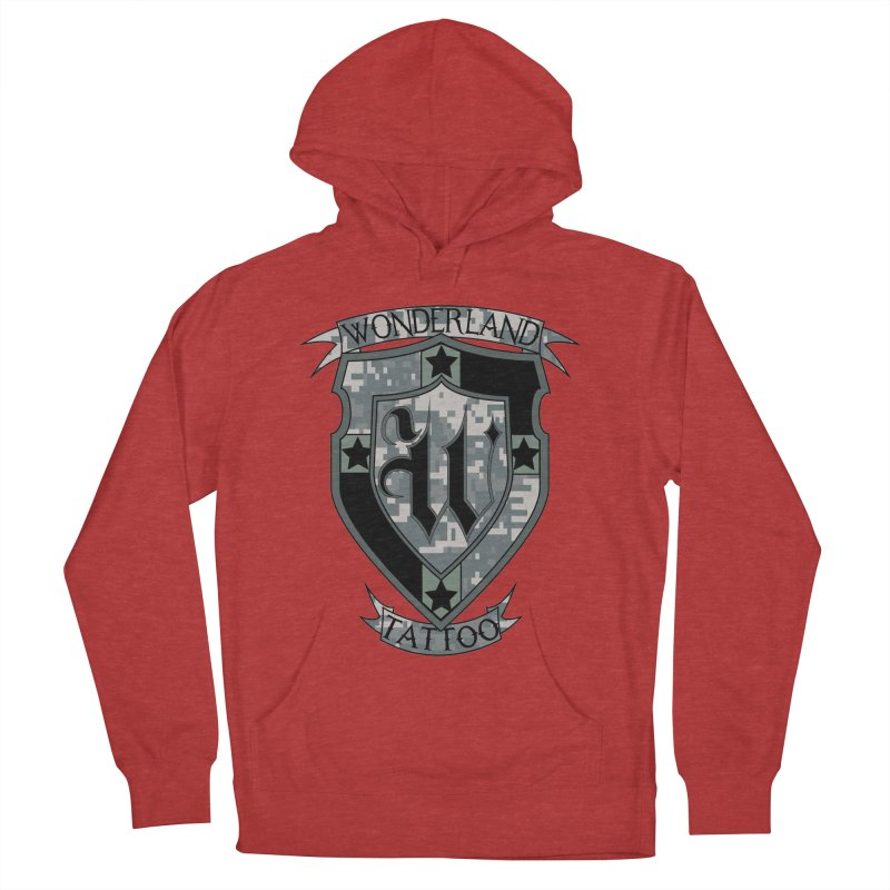 Digi Camo shield Men's French Terry Pullover Hoody by Wonderland Tattoo Studio's Artist Shop
