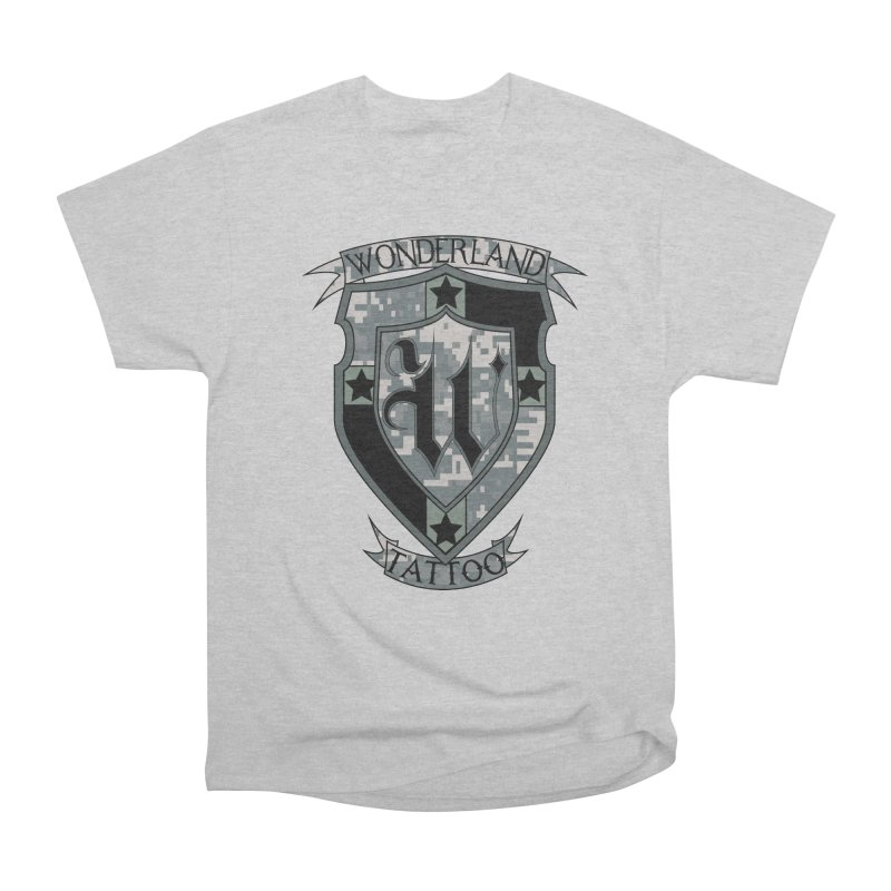 Digi Camo shield Women's Heavyweight Unisex T-Shirt by Wonderland Tattoo Studio's Artist Shop