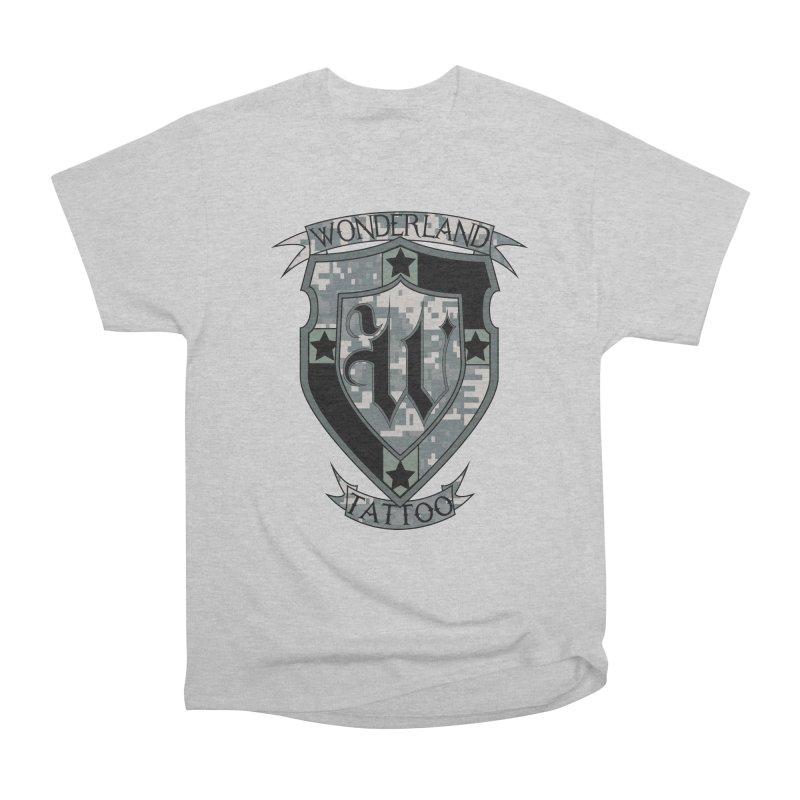 Digi Camo shield Men's Heavyweight T-Shirt by Wonderland Tattoo Studio's Artist Shop