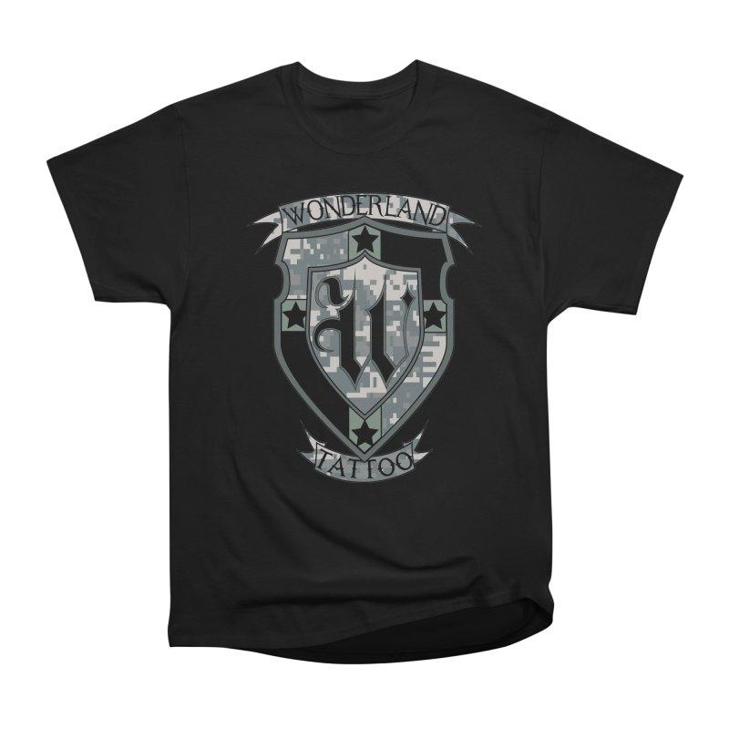 Digi Camo shield Women's Heavyweight Unisex T-Shirt by Wonderland Tattoo Studio's Artist Shop
