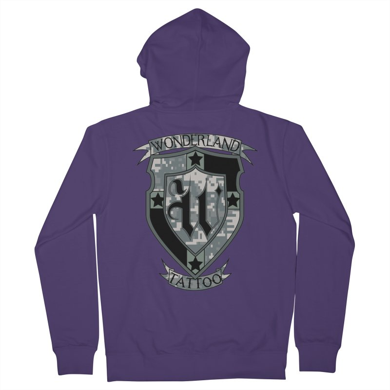 Digi Camo shield Women's French Terry Zip-Up Hoody by Wonderland Tattoo Studio's Artist Shop