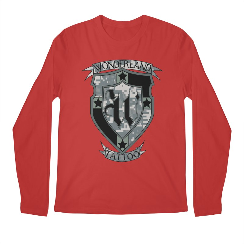 Digi Camo shield Men's Regular Longsleeve T-Shirt by Wonderland Tattoo Studio's Artist Shop
