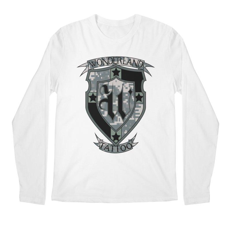 Digi Camo shield Men's Regular Longsleeve T-Shirt by Wonderland Tattoo Studio's Artist Shop