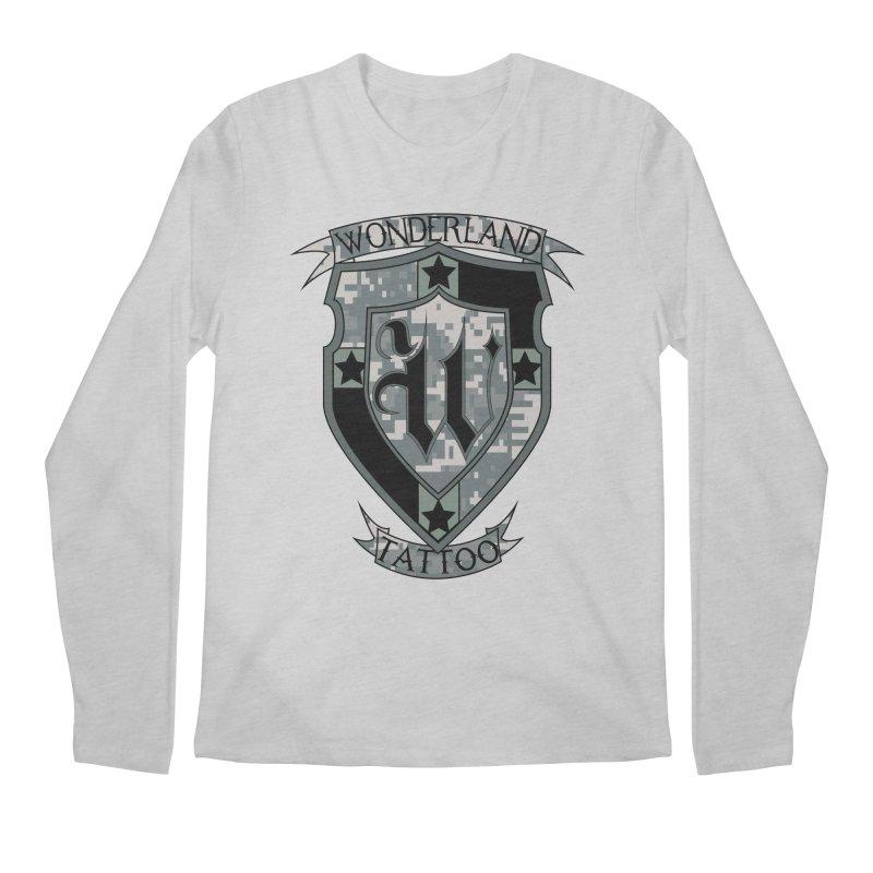 Digi Camo shield Men's Longsleeve T-Shirt by Wonderland Tattoo Studio's Artist Shop