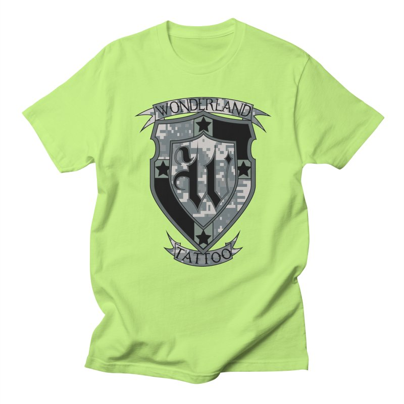 Digi Camo shield Women's Regular Unisex T-Shirt by Wonderland Tattoo Studio's Artist Shop