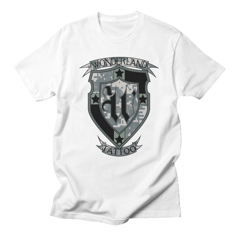 Digi Camo shield Men's Regular T-Shirt by Wonderland Tattoo Studio's Artist Shop