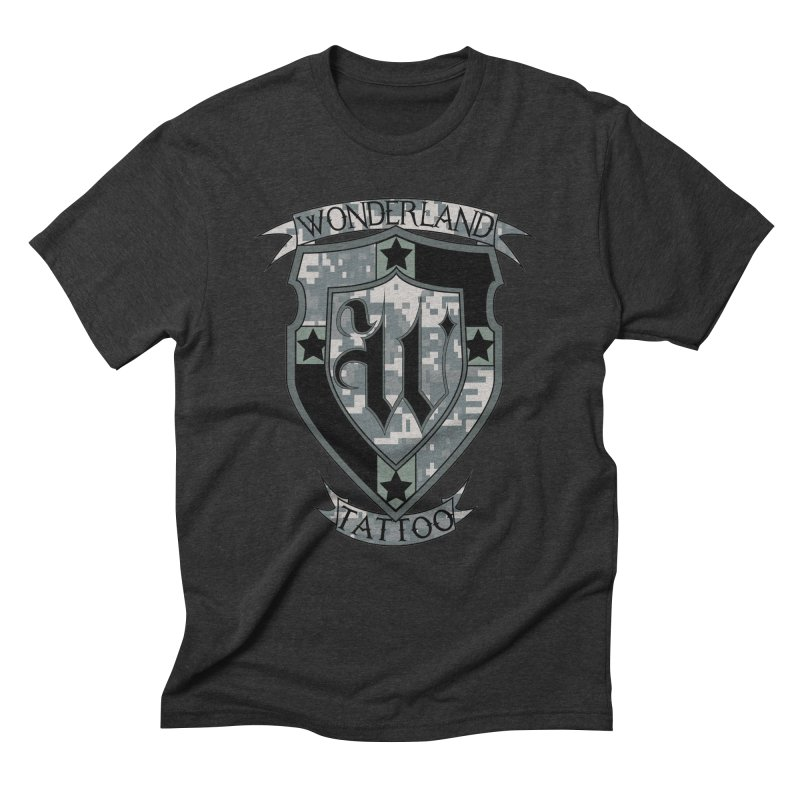 Digi Camo shield Men's Triblend T-Shirt by Wonderland Tattoo Studio's Artist Shop