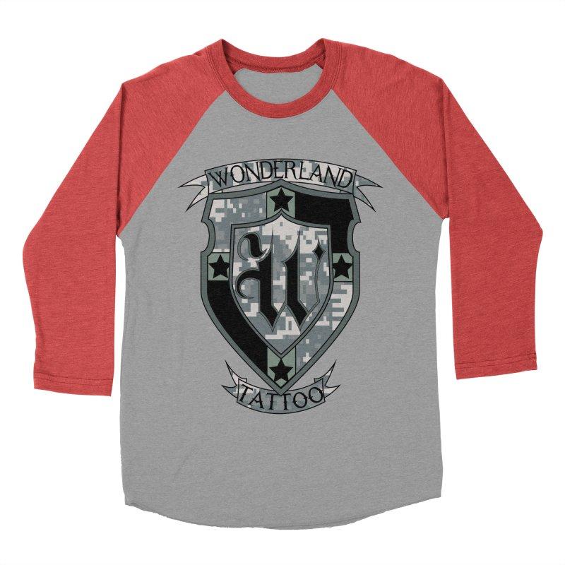 Digi Camo shield Women's Baseball Triblend Longsleeve T-Shirt by Wonderland Tattoo Studio's Artist Shop