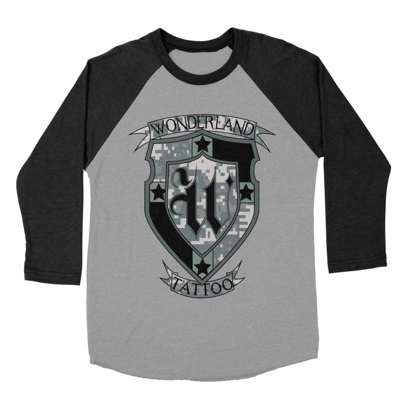 Digi Camo shield Men's Baseball Triblend Longsleeve T-Shirt by Wonderland Tattoo Studio's Artist Shop